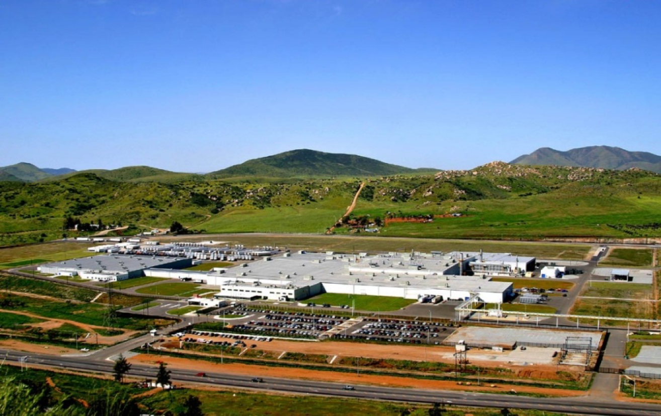 Aerial view of Toyota paint & assembly plant in Tecate, Baja California