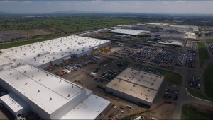 Panoramic view of General Motors stamping and body shop facility in Silao, Guanajuato