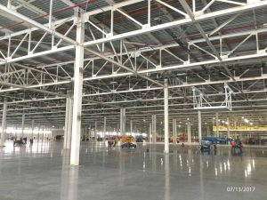 Inside view of General Motors body shop facility in Mexico