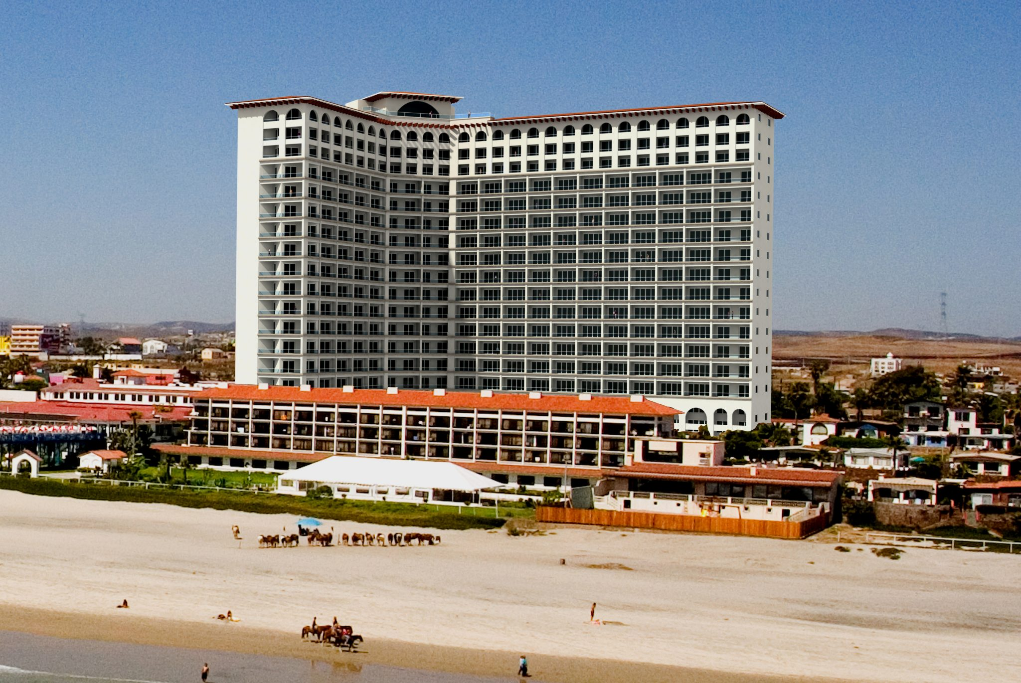 Panoramic view of Rosarito Beach Hotel tower