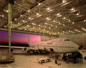 Mid shot of plane inside Matrix Aeronautical facility in Tijuana, Baja California