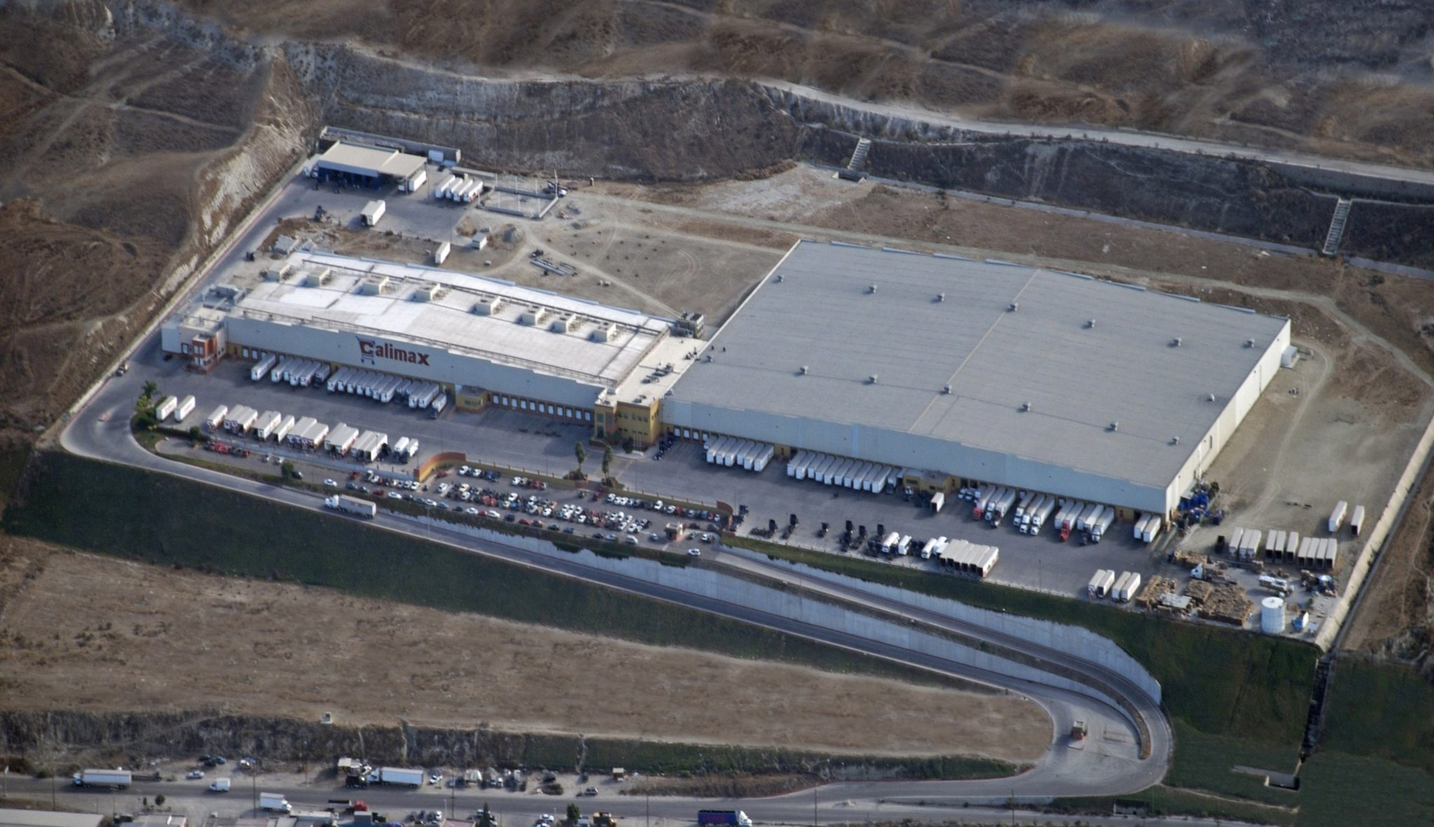 Aerial shot of Calimax distribution center in Tijuana, Baja California