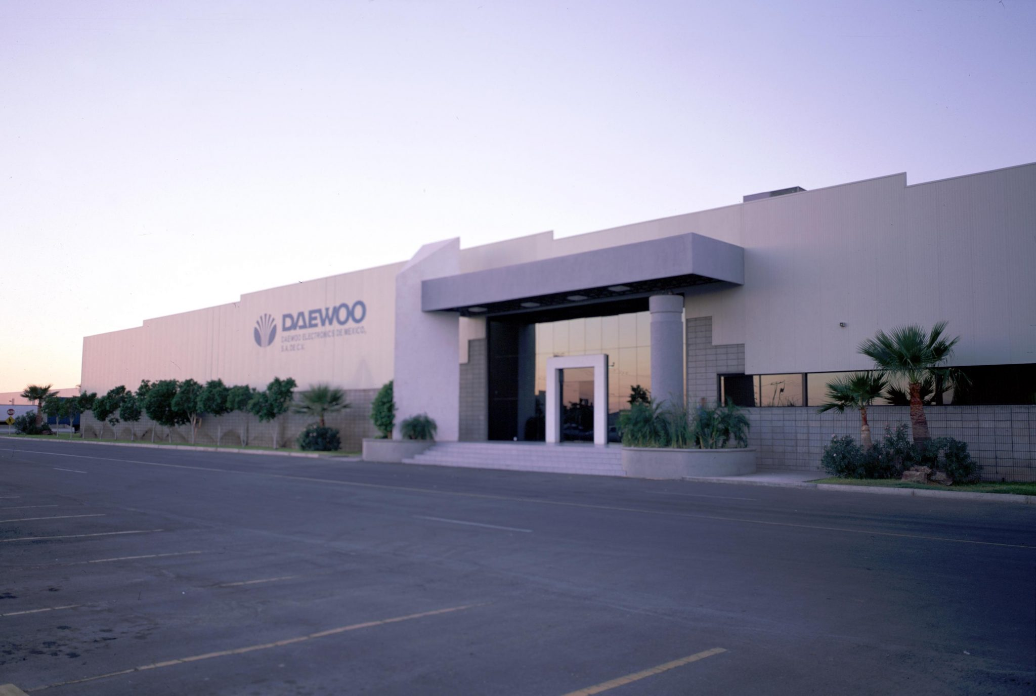 Eye level shot of DAEWOO Electronics industrial facility in San Luis Rio Colorado, Sonora