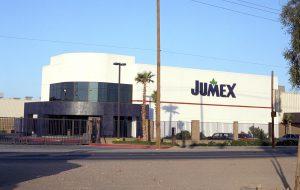 Eye level shot of JUMEX industrial facility in Tijuana, Baja California