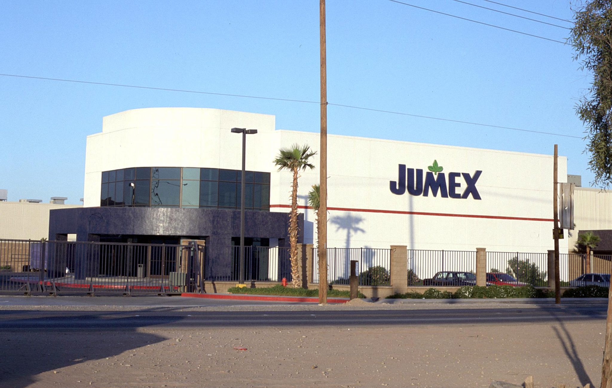 Eye level shot of JUMEX industrial facility in Tijuana, Baja California
