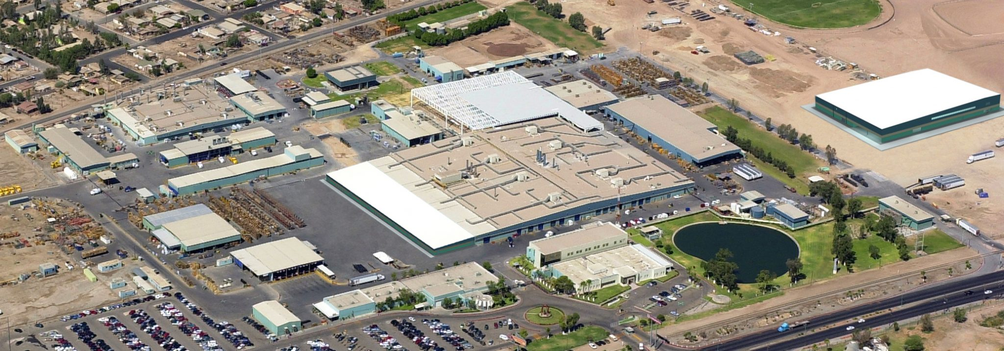 Aerial shot of Kenworth Paccar industrial facility in Mexicali, Baja California.