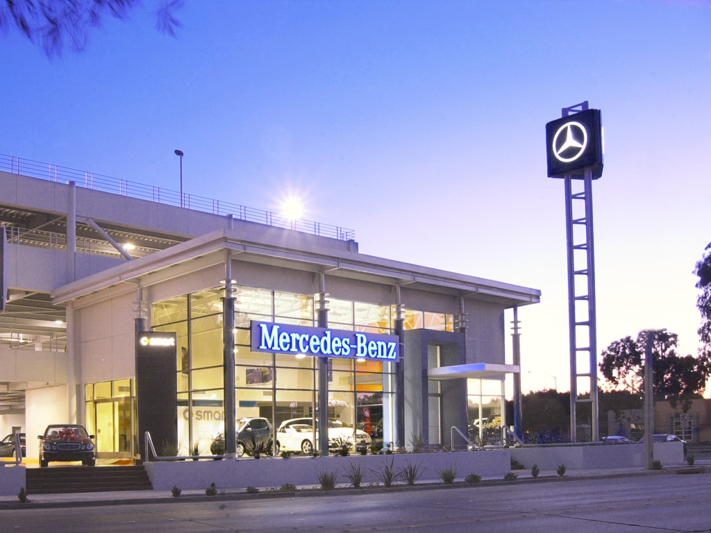 Front view of Mercedes Benz showroom in Tijuana at dawn