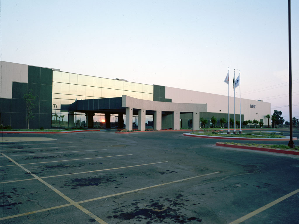 Eye level shot of NEC industrial facility in Mexicali, Baja California