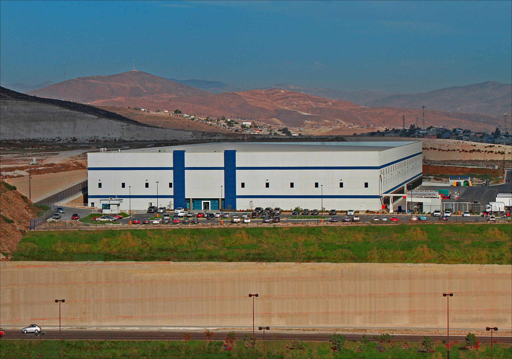 Panoramic shot of OXXO Distribution Center in Tijuana, Baja California