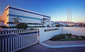 Eye level shot of Pioneer industrial facility in Tijuana, Baja California