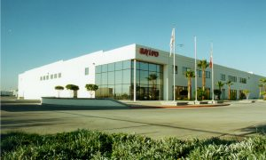 Eye level shot of SANYO industrial facility in Tijuana, Baja California