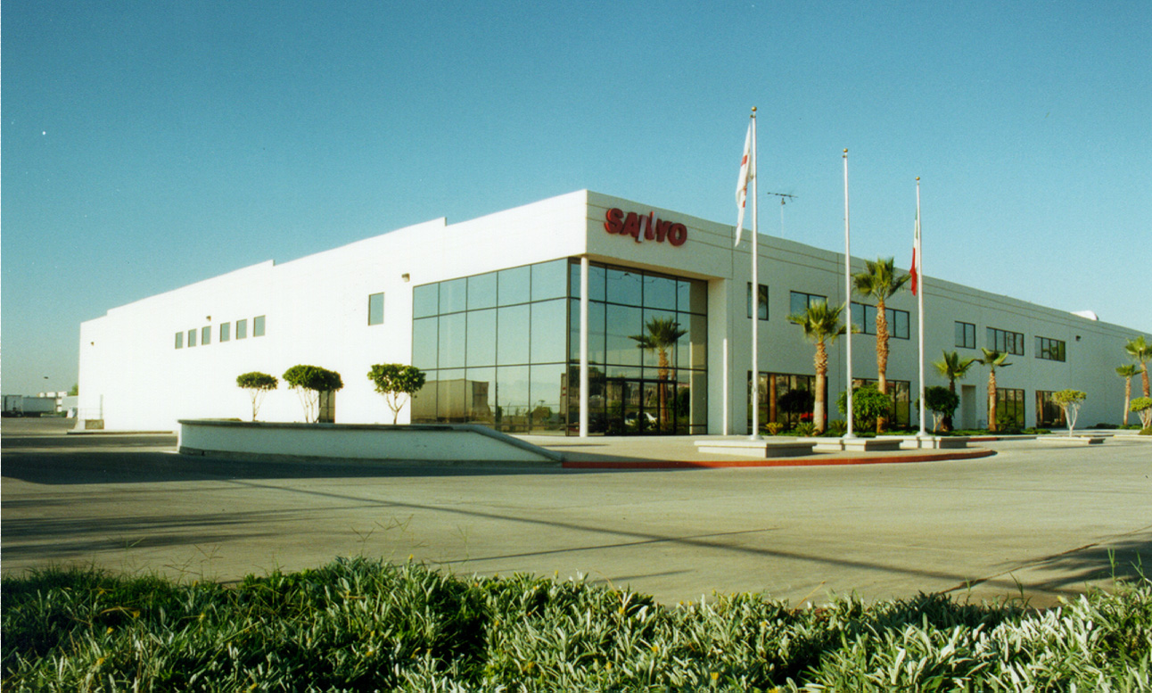 Eye level shot of SANYO industrial facility in Tijuana, Baja California