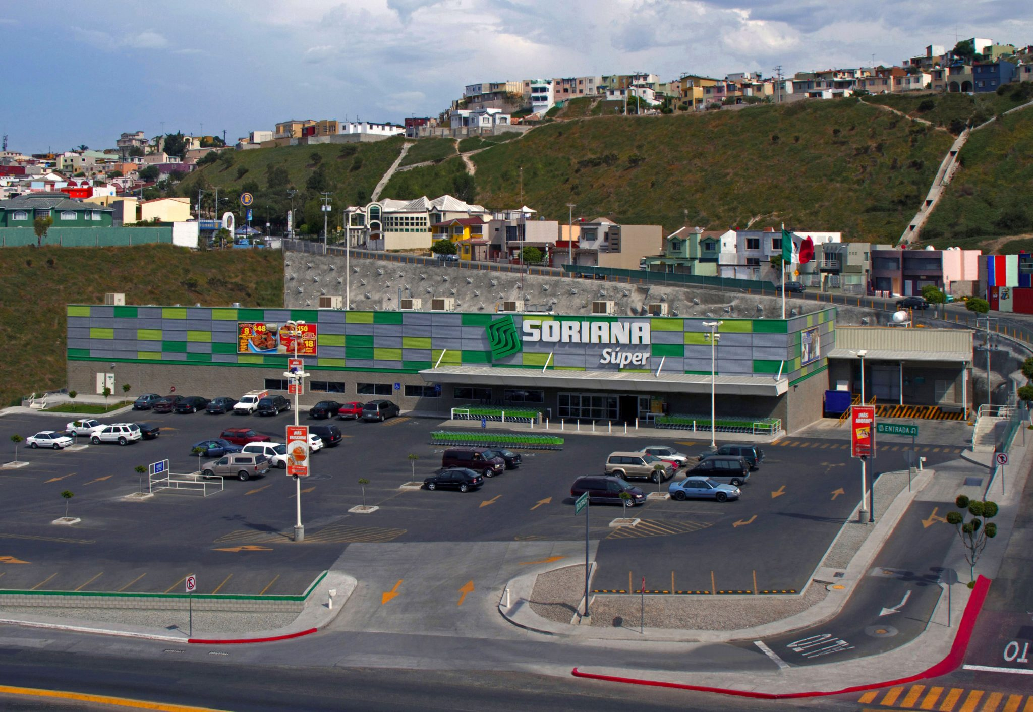 Aerial view of Soriana Supermarket in Tijuana