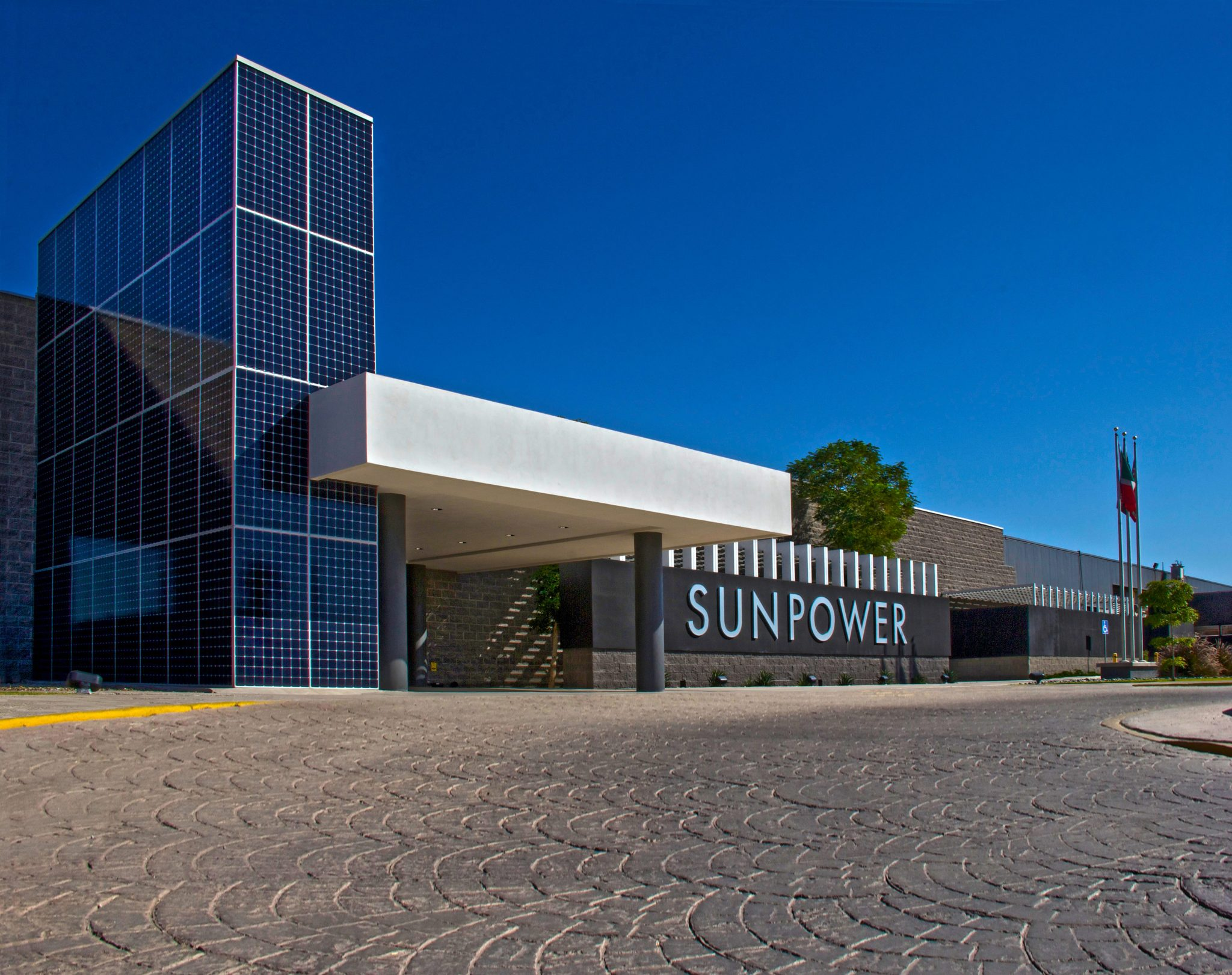 Eye level shot of Sunpower industrial facility in Mexicali, Baja California.