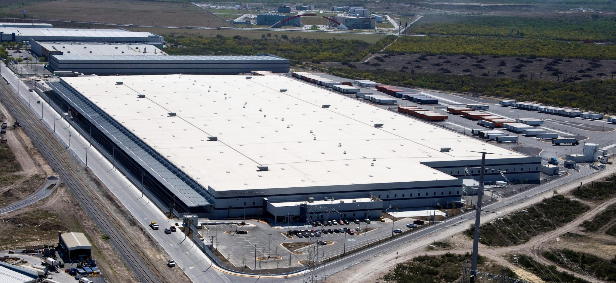 Aerial shot of Whirpool industrial facility in Monterrey, Nuevo Leon