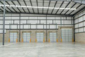 Frontal view of Spec building loading docks in Mexicali