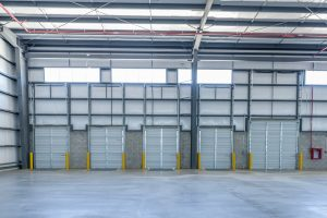 Internal view of loading docks at Logictic center in Mexico