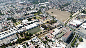 Rear aerial view of land for sale in Leon, Mexico.