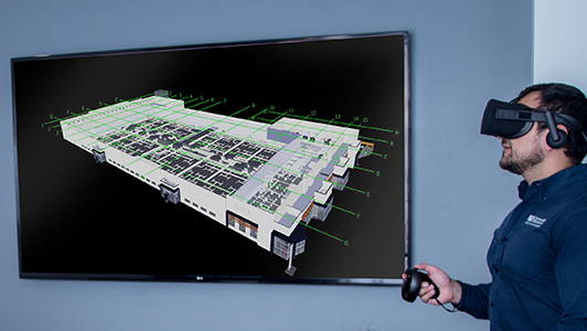 Virtual Reality 3D visualization of industrial facility