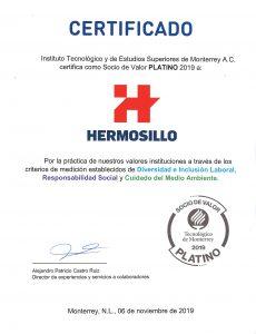 Certificado Socio de Valor Platino de Hermosillo